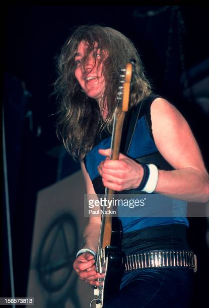 British heavy metal band Iron Maiden performs at the Poplar Creek Music Theater in Hoffman Estates during their World Slavery Tour Chicago Illinois...