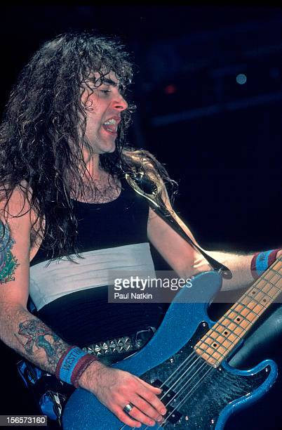 British heavy metal band Iron Maiden performs at the Rosemont Horizon during their World Slavery Tour Rosemont Illinois December 21 1984 Pictured is...