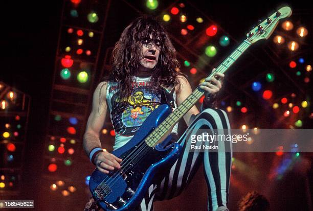 British heavy metal band Iron Maiden performs at the UIC Pavillion during their World Piece Tour Chicago Illinois September 30 1983 Pictured is Steve...
