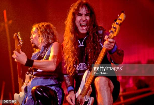 British heavy metal band Iron Maiden performs at the UIC Pavillion during their Brave New World Tour Chicago Illinois October 17 2000 Pictured are...