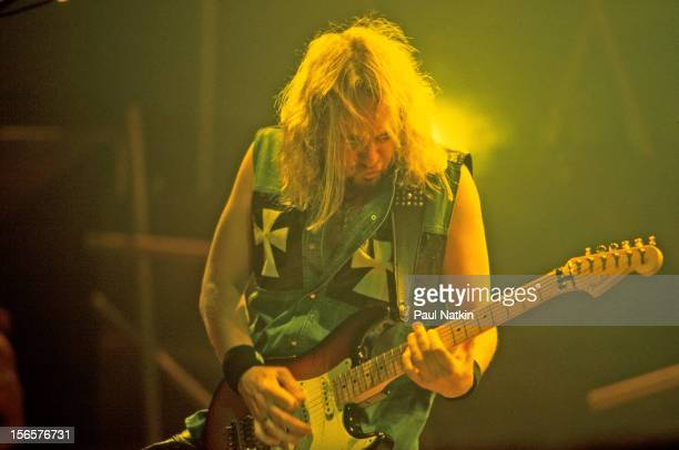 British heavy metal band Iron Maiden performs at the UIC Pavillion during their Brave New World Tour Chicago Illinois October 17 2000 Pictured is...