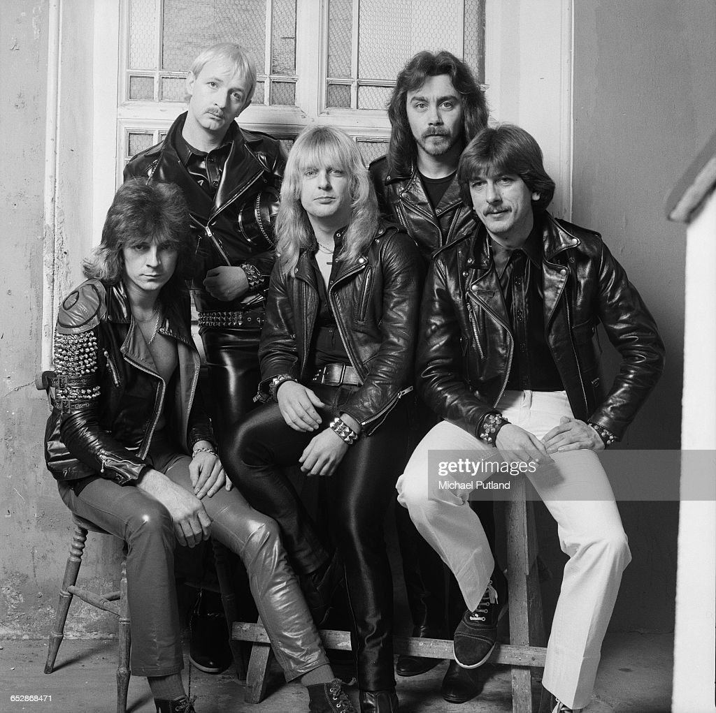 British heavy metal band Judas Priest on the set of the video shoot for their single 'Don't Go', January 1981. Left to right: guitarist Glenn Tipton, singer Rob Halford, guitarist K. K. Downing, bassist Ian Hill and drummer Dave Holland.