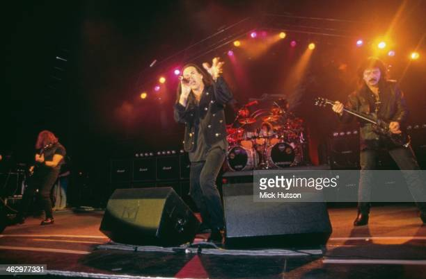 British heavy metal group Black Sabbath performing at the Hammersmith Apollo London 13th April 1994 Left to right Geezer Butler Tony Martin Bobby...
