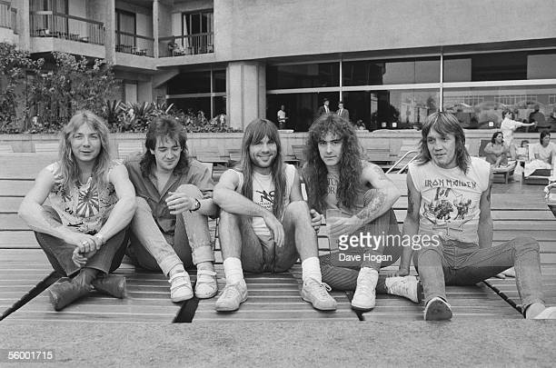 British heavy metal group Iron Maiden circa 1985 Left to right Dave Murray Adrian Smith Bruce Dickinson Steve Harris and Nicko McBrain