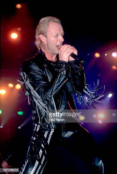 British heavy metal group Judas Priest perform onstage 1986 Pictured is singer Rob Halford