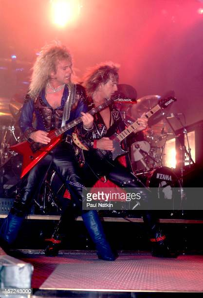 British heavy metal group Judas Priest perform onstage, 1986. Pictured are guitarists KK Downing and Glenn Tipton.