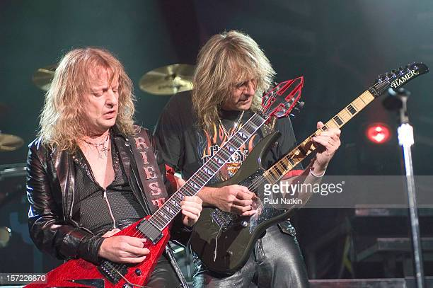 British heavy metal group Judas Priest perform onstage at Alpine Valley East Troy Wisconsin August 14 2004 Pictured are guitarists KK Downing and...