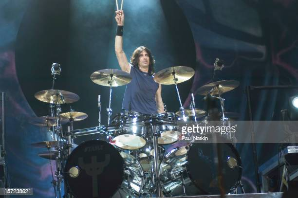 British heavy metal group Judas Priest perform onstage at Alpine Valley East Troy Wisconsin August 14 2004 Pictured is drummer Scott Travis
