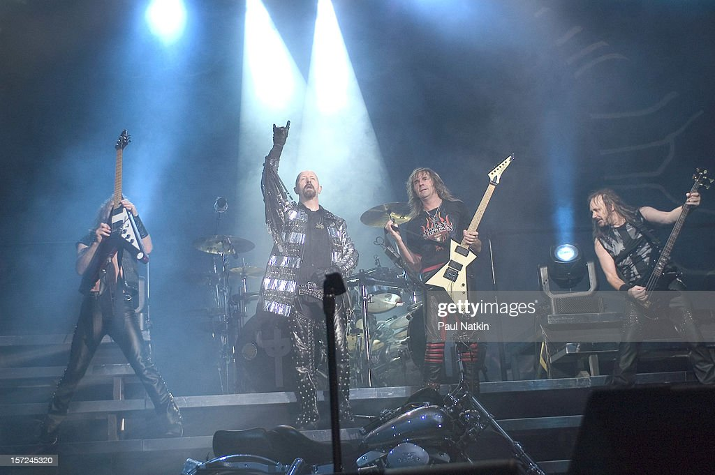 British heavy metal group Judas Priest perform onstage at Alpine Valley, East Troy, Wisconsin, August 14, 2004. Pictured are, from left, guitarist KK Downing, singer Rob Halford, guitarist Glenn Tipton, and bass player Ian Hill.