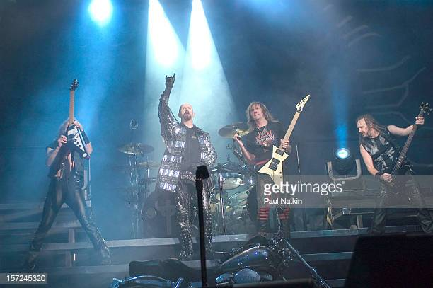 British heavy metal group Judas Priest perform onstage at Alpine Valley, East Troy, Wisconsin, August 14, 2004. Pictured are, from left, guitarist KK...