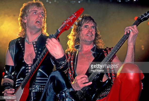 British heavy metal group Judas Priest perform onstage at the Rosemont Horizon, Rosemont, Illinois, June 14, 1984. Pictured are guitarists KK Downing...
