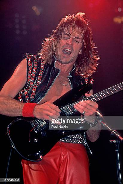 British heavy metal group Judas Priest perform onstage at the Rosemont Horizon Rosemont Illinois June 14 1984 Pictured is guitarist Glenn Tipton