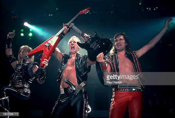 British heavy metal group Judas Priest perform onstage at the Rosemont Horizon, Rosemont, Illinois, June 14, 1984. Pictured are, from left, guitarist...