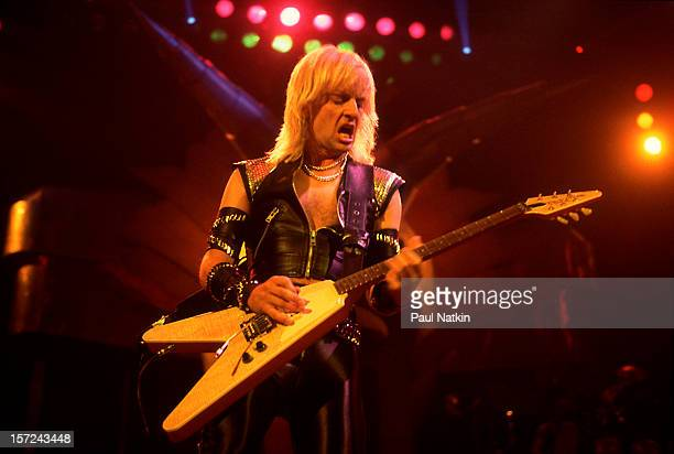 British heavy metal group Judas Priest perform onstage at the Rosemont Horizon, Rosemont, Illinois, June 14, 1984. Pictured is guitarist KK Downing.