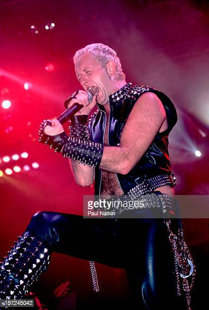 British heavy metal group Judas Priest perform onstage at the Rosemont Horizon Rosemont Illinois June 14 1984 Pictured is singer Rob Halford
