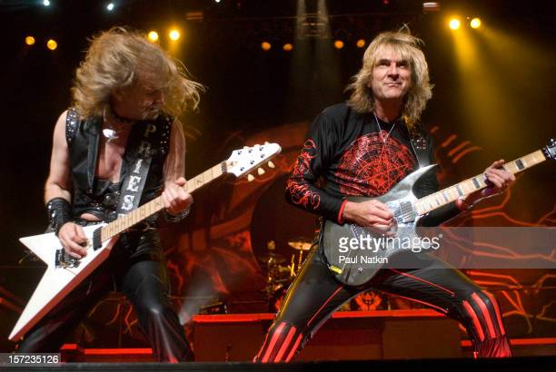British heavy metal group Judas Priest perform onstage at the First Midwest Bank Ampitheater, Chicago, Illinois, August 19, 2008. Pictured are...
