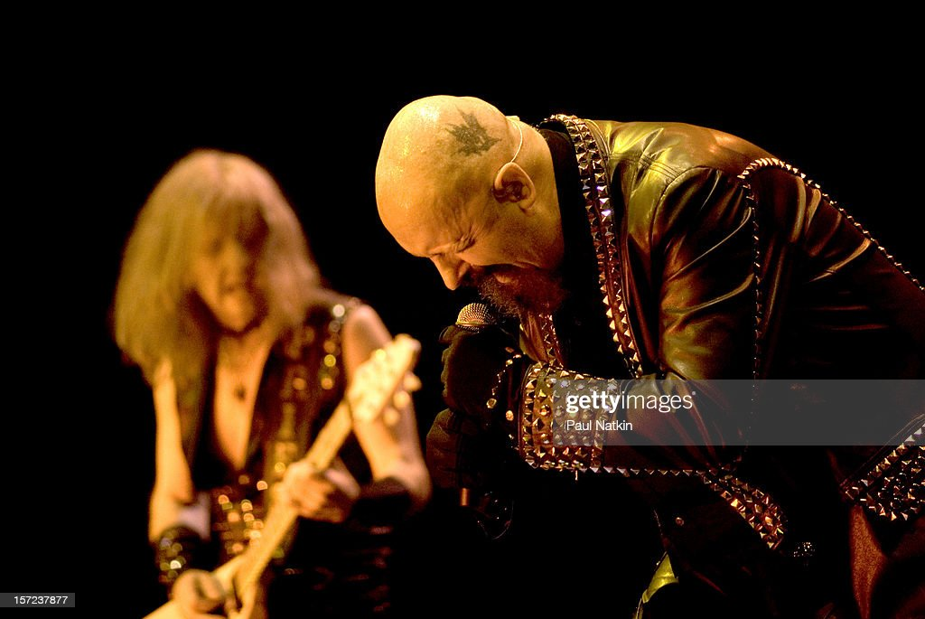 British heavy metal group Judas Priest perform onstage at the First Midwest Bank Ampitheater, Chicago, Illinois, August 19, 2008. Pictured are guitarist KK Downing (left) and singer Rob Halford.