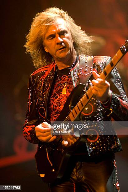 British heavy metal group Judas Priest perform onstage at the First Midwest Bank Ampitheater Chicago Illinois August 19 2008 Pictured is guitarist...