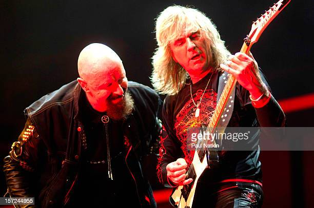 British heavy metal group Judas Priest perform onstage at the First Midwest Bank Ampitheater Chicago Illinois August 19 2008 Pictured are singer Rob...