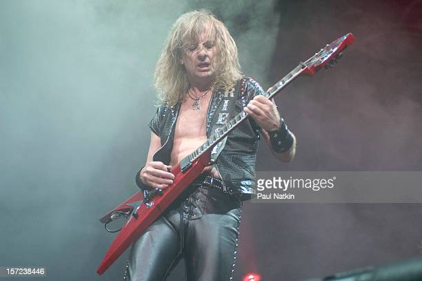 British heavy metal group Judas Priest perform onstage at the Tweeter Center, Chicago, Illinois, August 21, 2004. Pitcured is guitarist KK Downing.