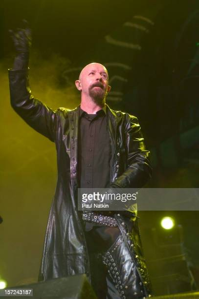 British heavy metal group Judas Priest perform onstage at the Tweeter Center Chicago Illinois August 21 2004 Pictured is singer Rob Halford