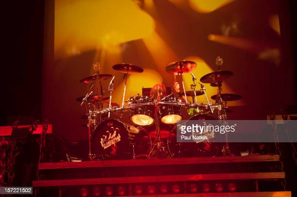 British heavy metal group Judas Priest perform onstage at the Venue in the Horseshoe Casino Hammond Indiana November 12 2011 Pictured is drummer...