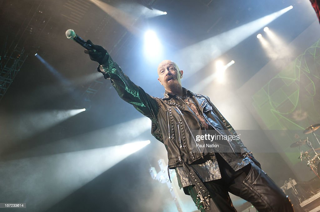 British heavy metal group Judas Priest perform onstage at the Venue in the Horseshoe Casino, Hammond, Indiana, November 12, 2011. Pictured is singer Rob Halford.