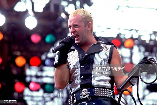 British heavy metal group Judas Priest perform onstage during the US Festival San Bernardino California May 29 1983 Pictured is singer Rob Halford