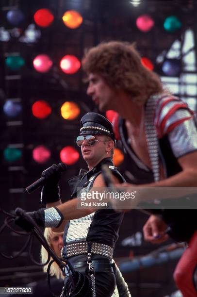 British heavy metal group Judas Priest perform onstage during the US Festival San Bernardino California May 29 1983 Pictured are singer Rob Halford...