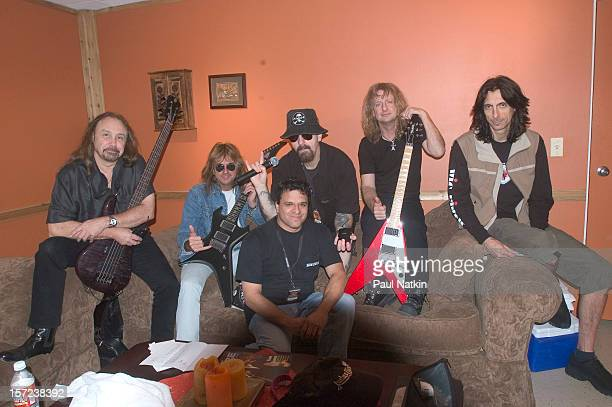 British heavy metal group Judas Priest pose backstage at Alpine Valley East Troy Wisconsin August 14 2004 Pictured are from left bass player Ian Hill...