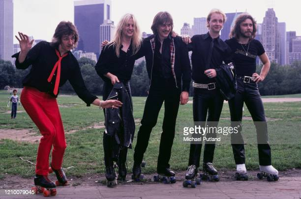 British heavy metal group Judas Priest posed on roller skates in Central Park, New York in August 1979. Members of the band are, from left to right:...
