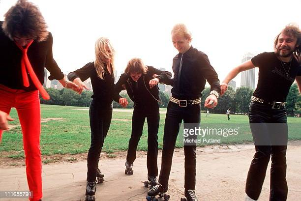 British heavy metal group Judas Priest wearing roller skates on a visit to Central Park New York August 1979 LR Glenn Tipton KK Downing Dave Holland...