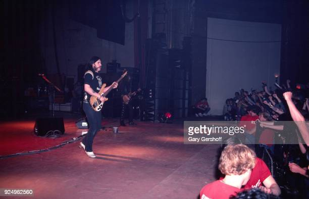British Heavy Metal musician Lemmy of the group Motorhead plays bass guitar as he performs onstage at the Palladium New York New York May 14 1982...