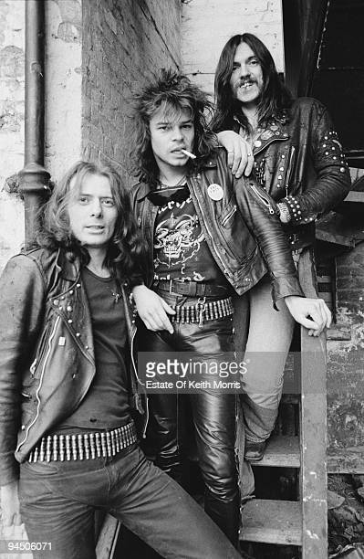 British heavy rock band Motorhead London 1978 Left to right guitarist 'Fast' Eddie Clarke drummer Phil 'Philthy Animal' Taylor and bassist and singer...
