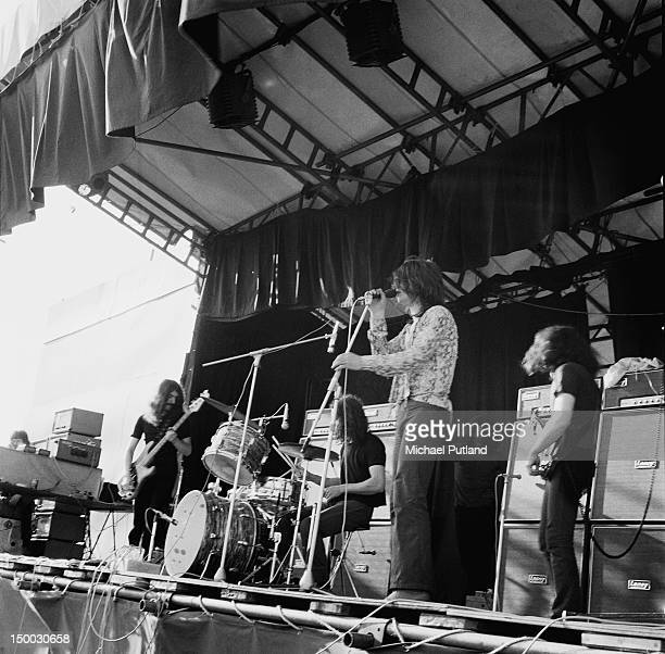 British heavy rock group Black Sabbath performing at the Plumpton festival in Sussex 23rd May 1970 Left to right bassist Geezer Butler drummer Bill...