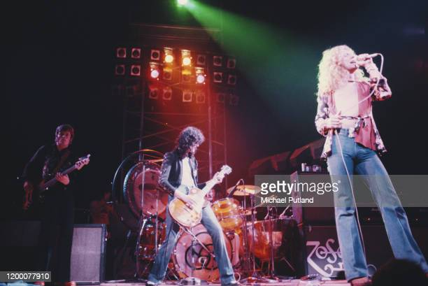 British heavy rock group Led Zeppelin perform live on stage at Earl's Court in London in May 1975. Members of the group are, from left, John Paul...