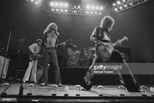 British heavy rock group Led Zeppelin, performing at Earl's Court, London, May 1975. Left to right: John Paul Jones, Robert Plant, John Bonham and...