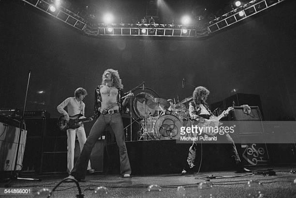 British heavy rock group Led Zeppelin, performing at Earl's Court, London, May 1975. Left to right: John Paul Jones, Robert Plant, John Bonham and...