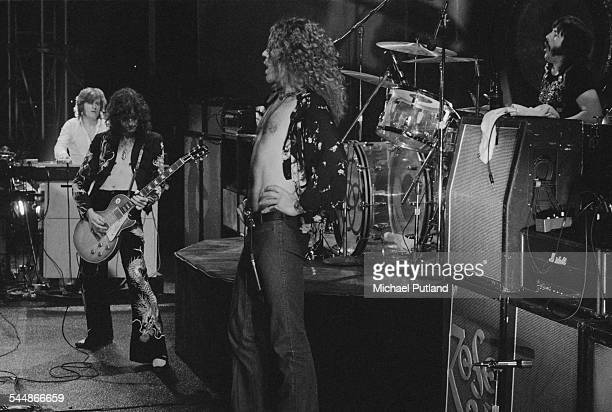 British heavy rock group Led Zeppelin performing at Earl's Court London May 1975 Left to right John Paul Jones Jimmy Page Robert Plant and John...