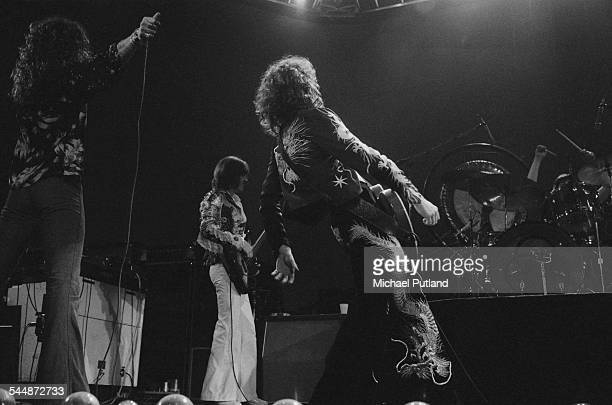 British heavy rock group Led Zeppelin performing at Earl's Court London May 1975 Left to right Robert Plant John Paul Jones Jimmy Page and John...