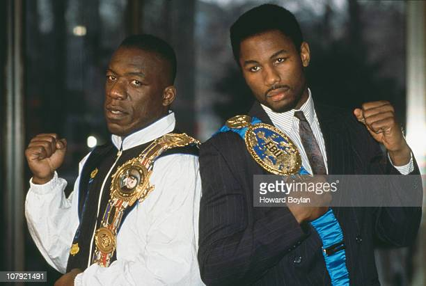 British heavyweight boxers Gary Mason and Lennox Lewis at a press conference before their fight at Wembley Arena 4th March 1991