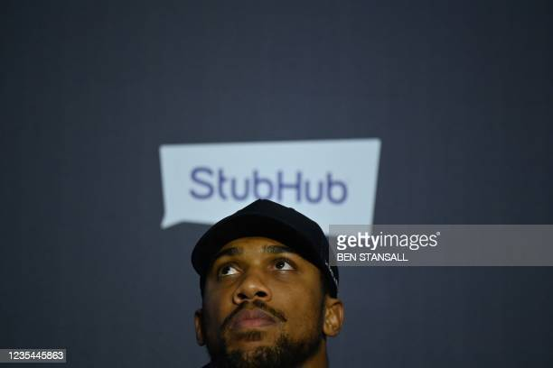 British heavyweight champion boxer Anthony Joshua attends a press conference at Tottenham Hotspur Stadium in London on September 23 ahead of his...
