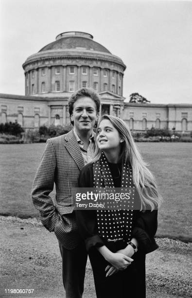 British hereditary peer aristocrat and businessman John Hervey and his wife Francesca Fisher outside Ickworth House Bury Saint Edmunds UK 20th March...
