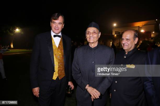 British High Commissioner Sir Dominic Asquith with Karan Singh and Pravin Chawla during the fundraiser for Lepra India Trust at the residence of the...