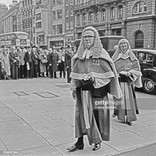 British High Court judge Sir Aubrey Melford Steed Stevenson, Mr Justice Melford Stevenson , London, UK, 18th October 1965.