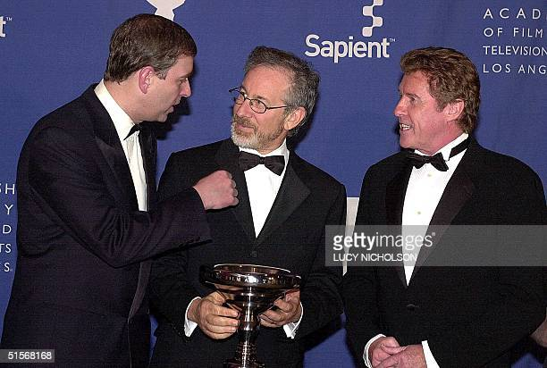 British His Royal Highness The Duke of York Prince Andrew presents US film director Steven Spielberg with the tenth annual Britannia Award for...