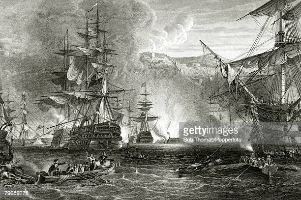 circa 1st August 1798 The Battle of the Nile in Aboukir Bay which was agreat victory for Horatio Nelson's British fleet against Napoleon's French...