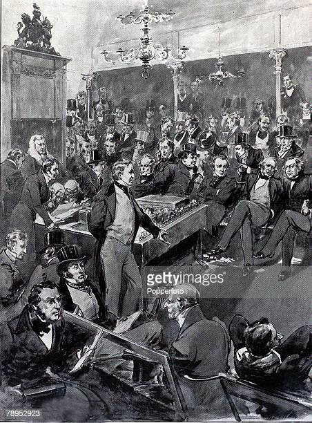 British History Politics Illustration Sir Robert Peel standing to announce his conversion to free trade principles during the corn law debate in the...
