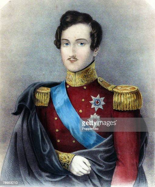 British History Royalty Colour illustration Prince Albert Prince Consort husband of Queen Victoria in the uniform of a Field Marshal Circa 1840