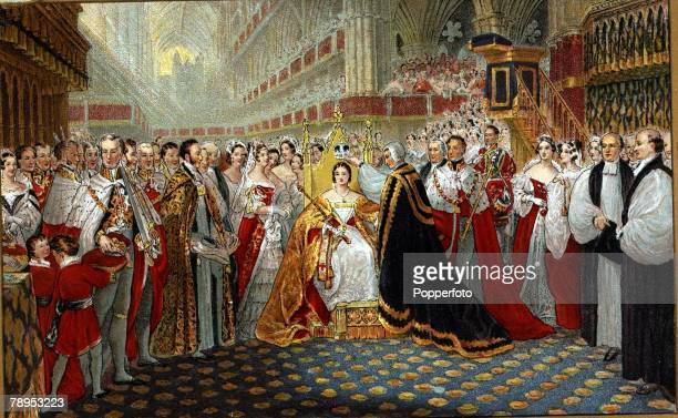 British History Royalty Colour illustration The Coronation of Queen Victoria in Westminster Abbey on 28th June 1838